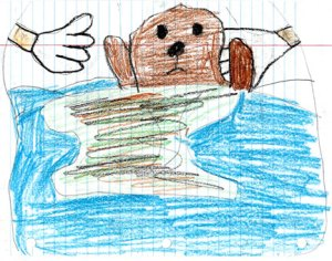 Drawing of sea otter in oil spill