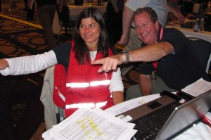 Here are Holly Gellerman, OSPR's Wildlife Branch Director, and Jordan Stout from NOAA having some fun at the drill.