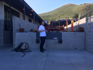 Scott Buhl approving of the new loading dock. No more sore backs!