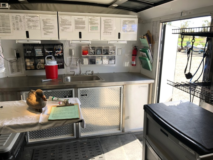 Viewing the inside of a response trailer.
